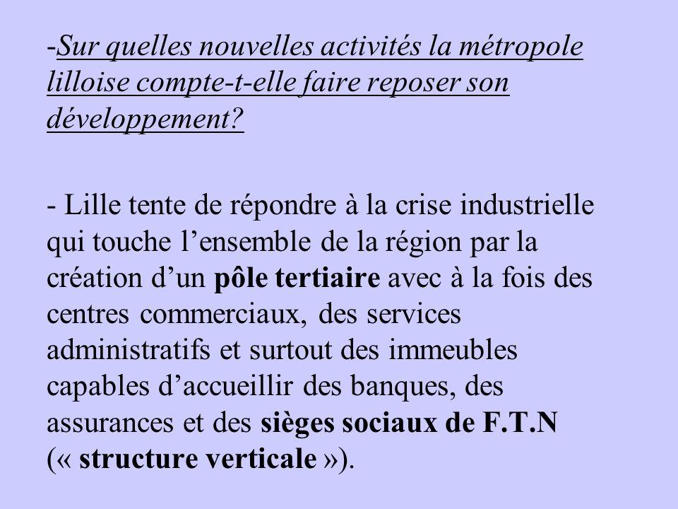 -Sur quelles nouvelles activités la métropole lilloise compte-t-elle faire reposer son développement? - Lille tente de répondre à la crise industriell