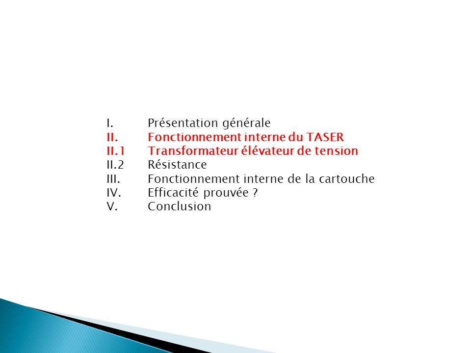 I. Présentation générale II. Fonctionnement interne du TASER II.1 Transformateur élévateur de tension II.2 Résistance III. Fonctionnement interne de l