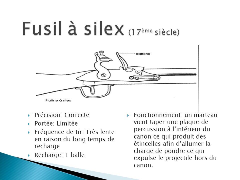 Fonctionnement: un marteau vient taper une plaque de percussion à lintérieur du canon ce qui produit des étincelles afin dallumer la charge de poudre