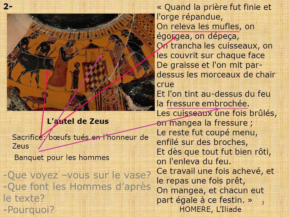 3 Lautel de Zeus 2- « Quand la prière fut finie et l'orge répandue, On releva les mufles, on égorgea, on dépeça, On trancha les cuisseaux, on les couv