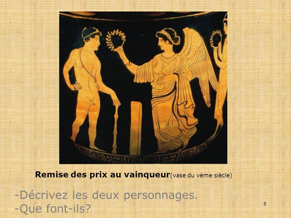 8 Remise des prix au vainqueur (vase du vème siècle) -Décrivez les deux personnages. -Que font-ils?