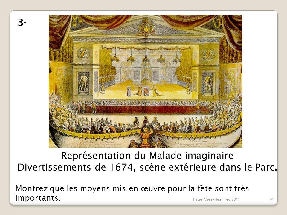 Représentation du Malade imaginaire Divertissements de 1674, scène extérieure dans le Parc. 3- Montrez que les moyens mis en œuvre pour la fête sont t