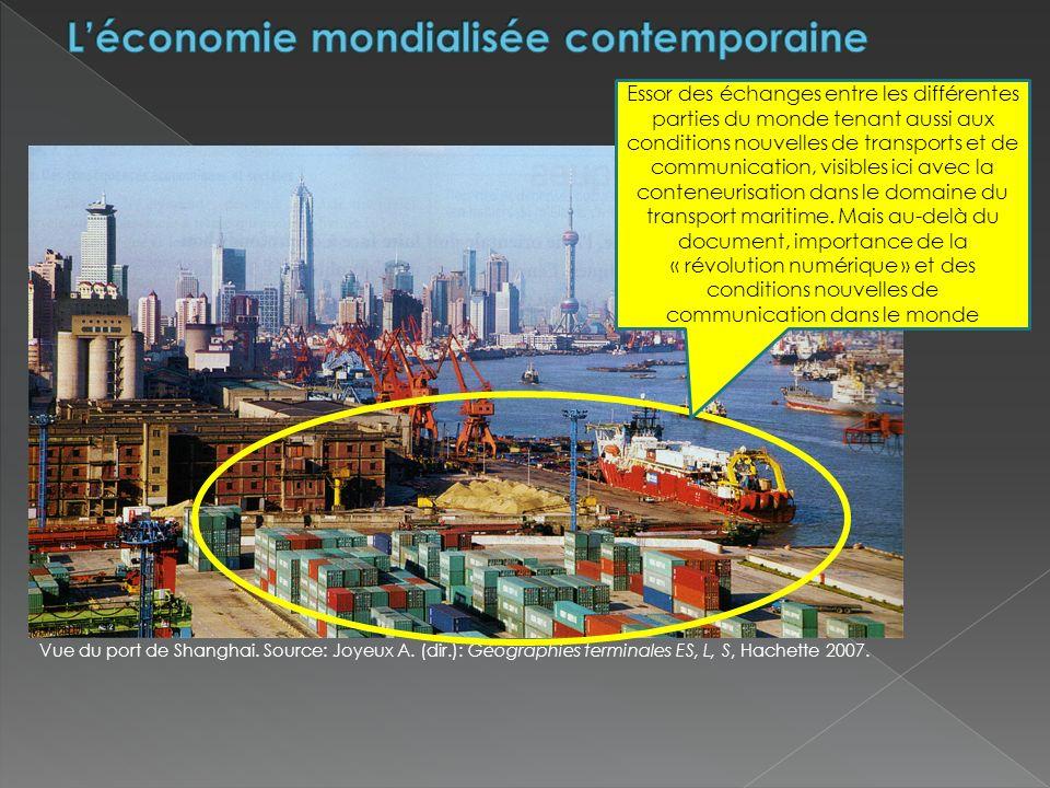 Vue du port de Shanghai.Source: Joyeux A. (dir.): Géographies terminales ES, L, S, Hachette 2007.