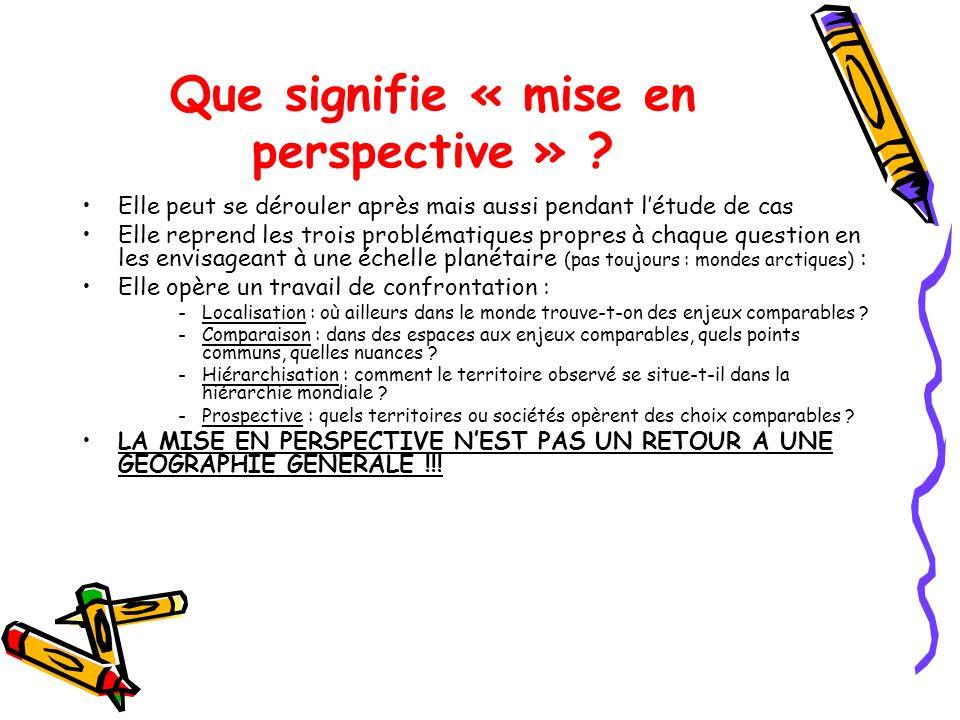 Que signifie « mise en perspective » ? Elle peut se dérouler après mais aussi pendant létude de cas Elle reprend les trois problématiques propres à ch