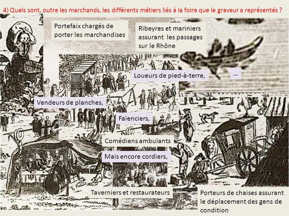 4) Quels sont, outre les marchands, les différents métiers liés à la foire que le graveur a représentés ? Ribeyres et mariniers assurant les passages