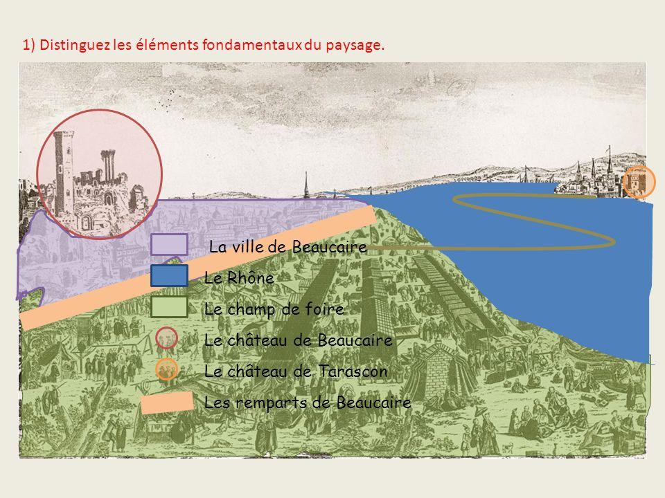 1) Distinguez les éléments fondamentaux du paysage. La ville de Beaucaire Le Rhône Le champ de foire Le château de Beaucaire Le château de Tarascon Le