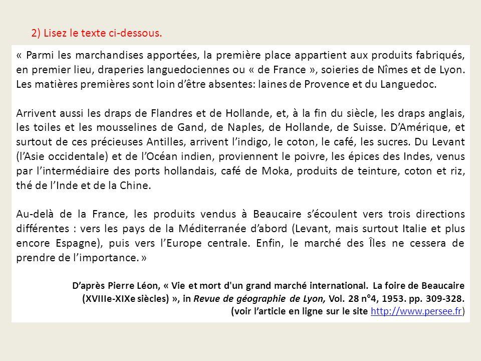 2) Indiquez par des flèches sur la carte les routes empruntées par les marchands pour parvenir à Beaucaire, indiqué par.