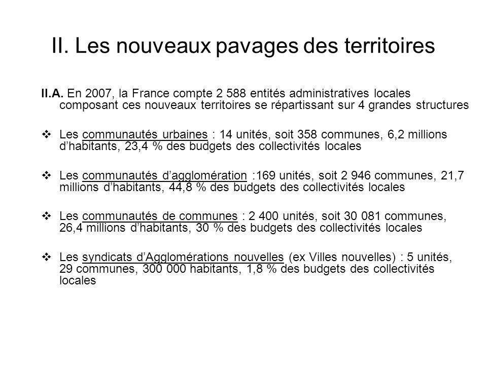 II. Les nouveaux pavages des territoires II.A. En 2007, la France compte 2 588 entités administratives locales composant ces nouveaux territoires se r