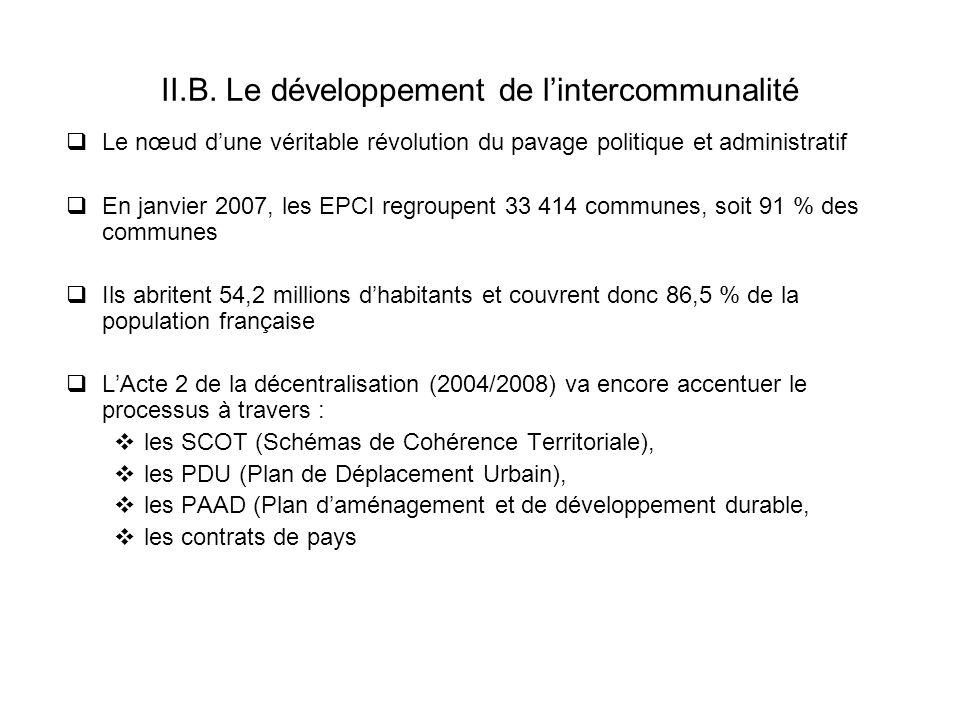 II.B. Le développement de lintercommunalité Le nœud dune véritable révolution du pavage politique et administratif En janvier 2007, les EPCI regroupen