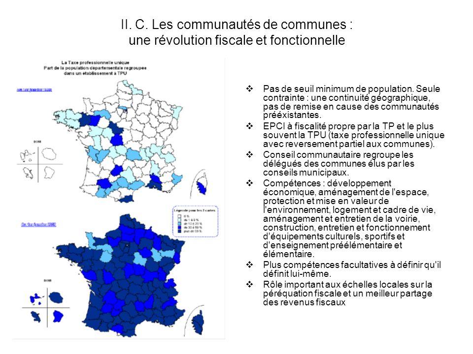 II. C. Les communautés de communes : une révolution fiscale et fonctionnelle Pas de seuil minimum de population. Seule contrainte : une continuité géo