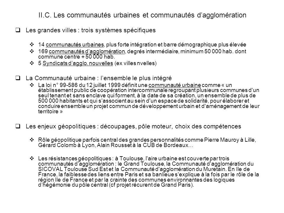 II.C. Les communautés urbaines et communautés dagglomération Les grandes villes : trois systèmes spécifiques 14 communautés urbaines, plus forte intég