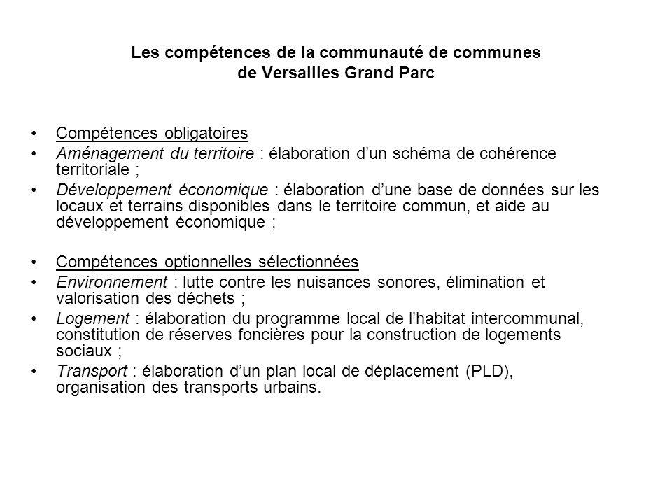 Les compétences de la communauté de communes de Versailles Grand Parc Compétences obligatoires Aménagement du territoire : élaboration dun schéma de c