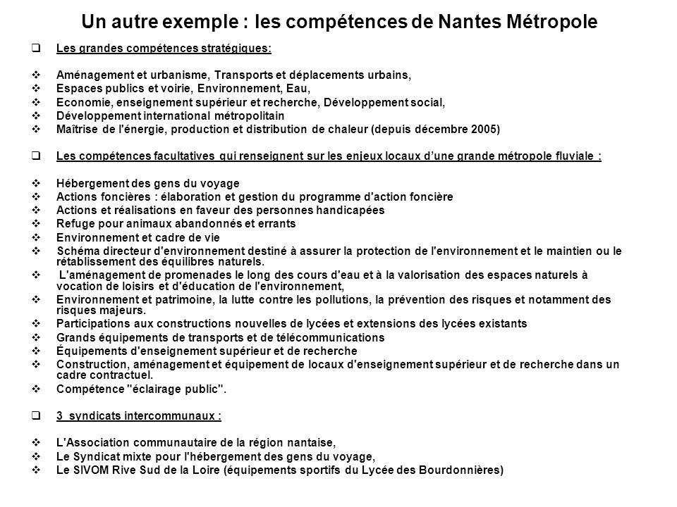Un autre exemple : les compétences de Nantes Métropole Les grandes compétences stratégiques: Aménagement et urbanisme, Transports et déplacements urba