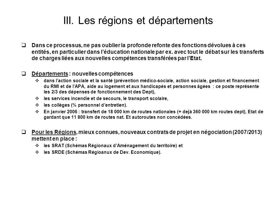 III. Les régions et départements Dans ce processus, ne pas oublier la profonde refonte des fonctions dévolues à ces entités, en particulier dans léduc
