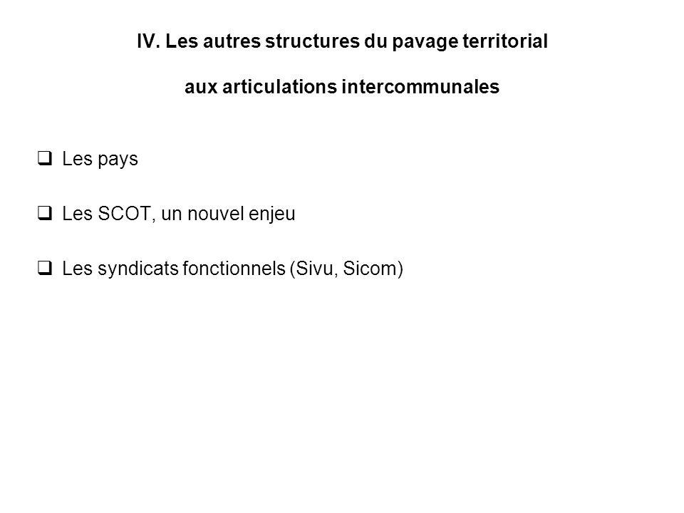 IV. Les autres structures du pavage territorial aux articulations intercommunales Les pays Les SCOT, un nouvel enjeu Les syndicats fonctionnels (Sivu,