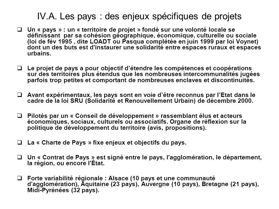 IV.A. Les pays : des enjeux spécifiques de projets Un « pays » : un « territoire de projet » fondé sur une volonté locale se définissant par sa cohési
