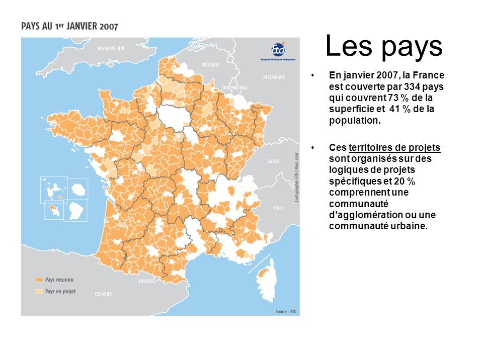 Les pays En janvier 2007, la France est couverte par 334 pays qui couvrent 73 % de la superficie et 41 % de la population. Ces territoires de projets