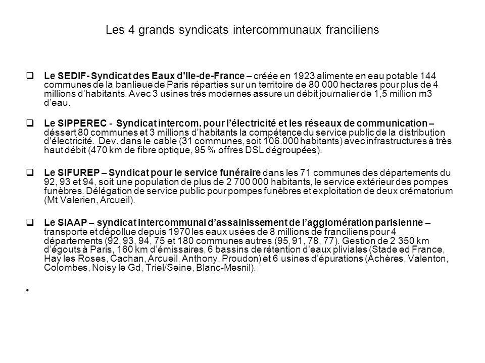 Les 4 grands syndicats intercommunaux franciliens Le SEDIF- Syndicat des Eaux dIle-de-France – créée en 1923 alimente en eau potable 144 communes de l