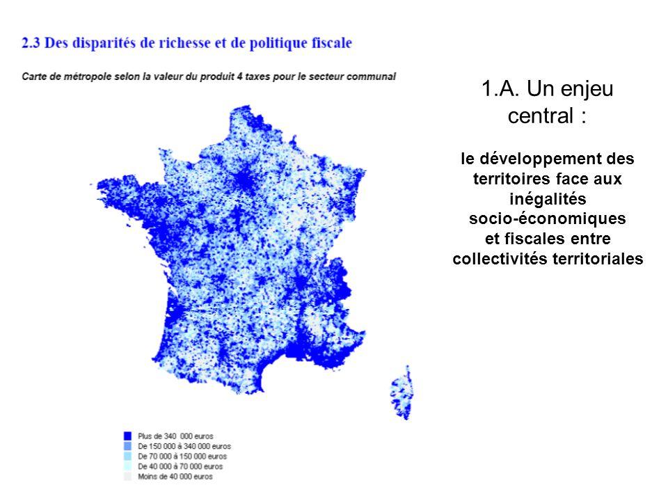 1.A. Un enjeu central : le développement des territoires face aux inégalités socio-économiques et fiscales entre collectivités territoriales