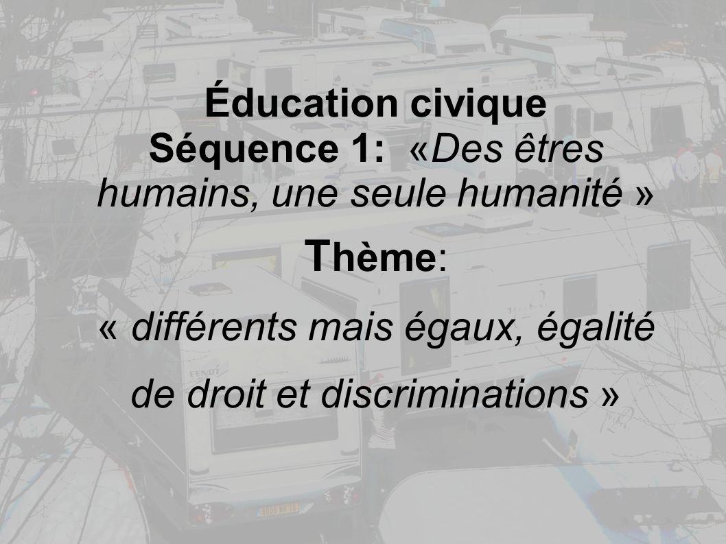 Éducation civique Séquence 1: «Des êtres humains, une seule humanité » T hème: « différents mais égaux, égalité de droit et discriminations »