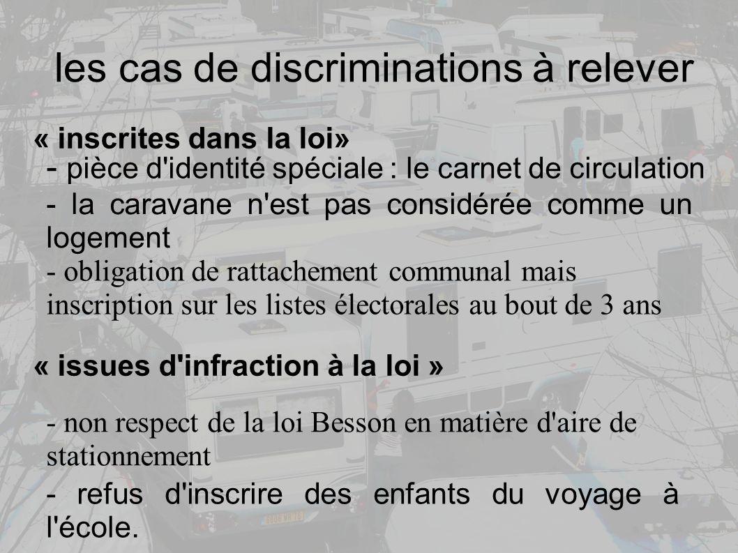 les cas de discriminations à relever - pièce d identité spéciale : le carnet de circulation - la caravane n est pas considérée comme un logement - refus d inscrire des enfants du voyage à l école.