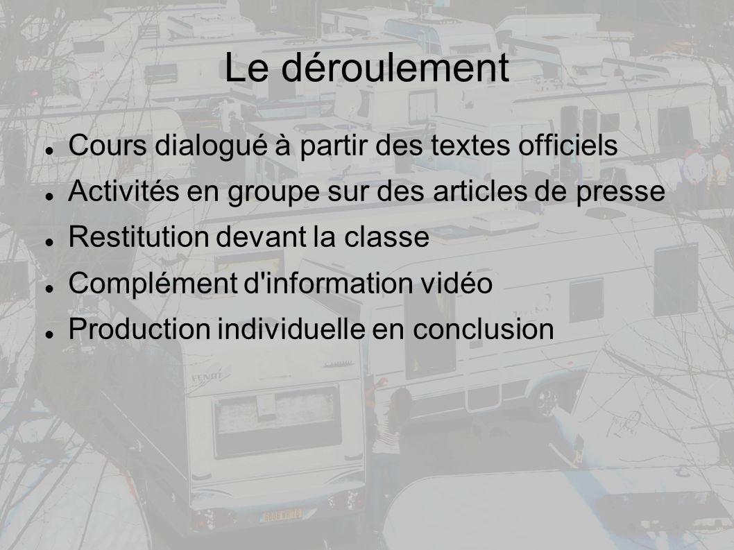Le déroulement Cours dialogué à partir des textes officiels Activités en groupe sur des articles de presse Restitution devant la classe Complément d information vidéo Production individuelle en conclusion