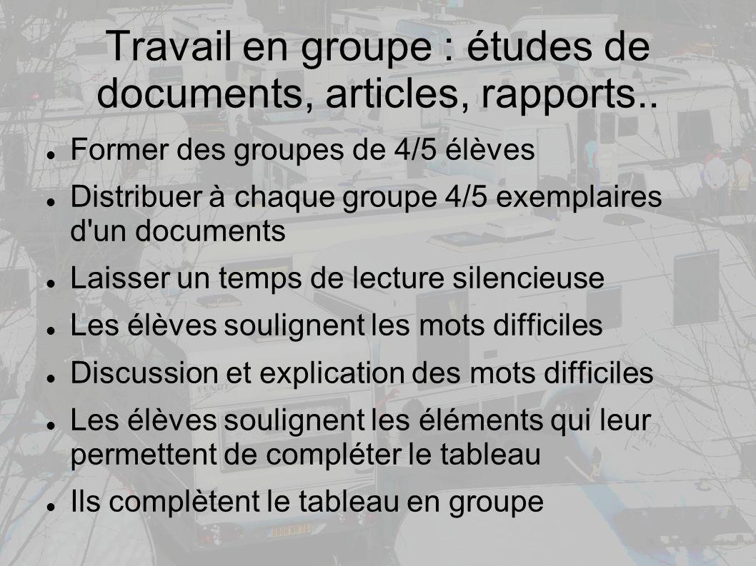 Travail en groupe : études de documents, articles, rapports..