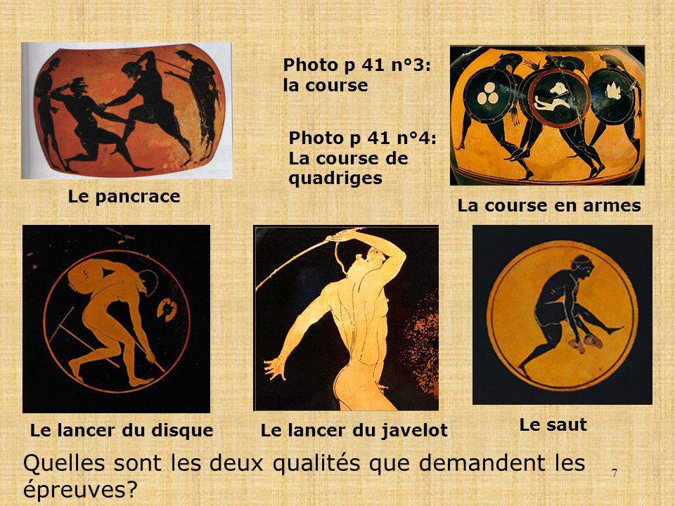 7 Le pancrace Le lancer du disqueLe lancer du javelot La course en armes Le saut Photo p 41 n°3: la course Photo p 41 n°4: La course de quadriges Quel