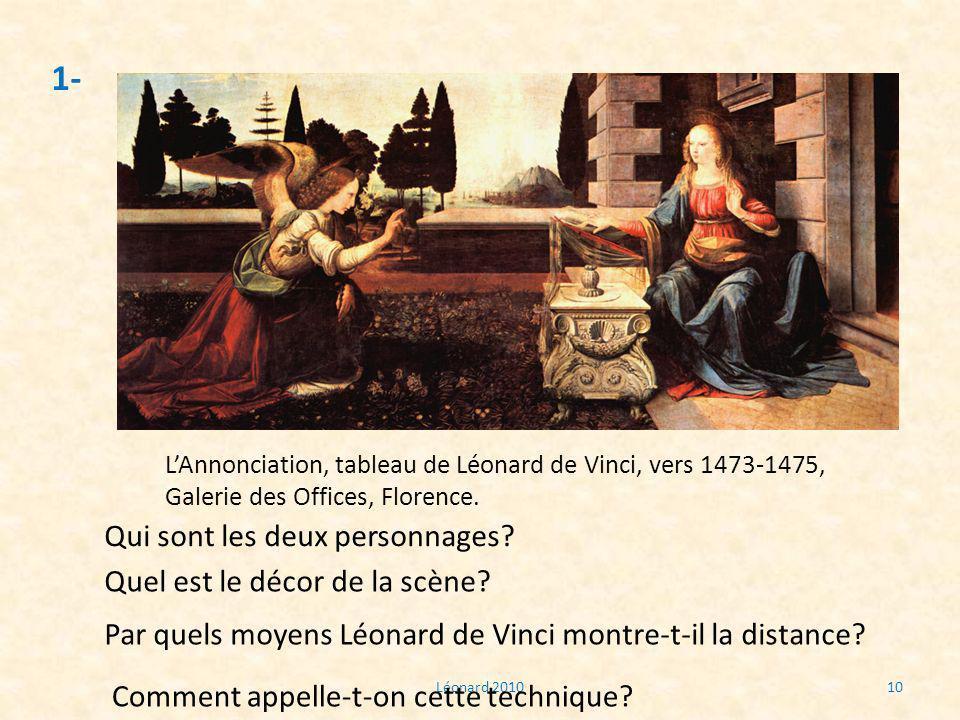 Léonard 201010 1- LAnnonciation, tableau de Léonard de Vinci, vers 1473-1475, Galerie des Offices, Florence. Qui sont les deux personnages? Quel est l