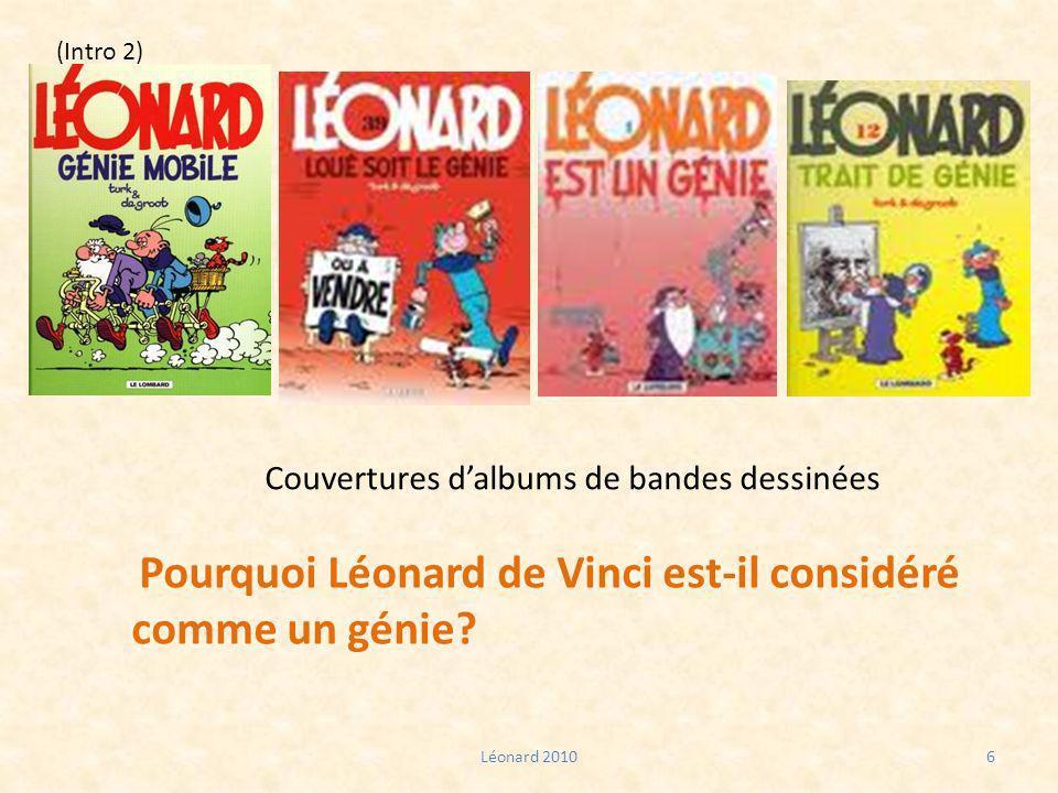 Couvertures dalbums de bandes dessinées Léonard 20106 Pourquoi Léonard de Vinci est-il considéré comme un génie? (Intro 2)