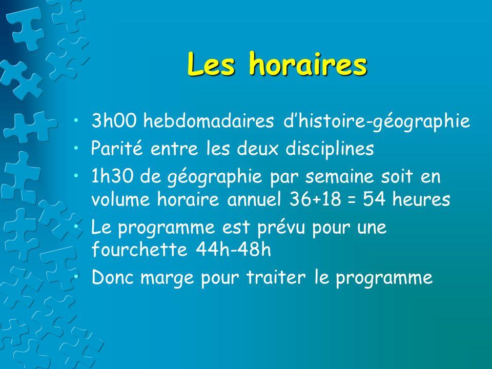 Les horaires 3h00 hebdomadaires dhistoire-géographie Parité entre les deux disciplines 1h30 de géographie par semaine soit en volume horaire annuel 36