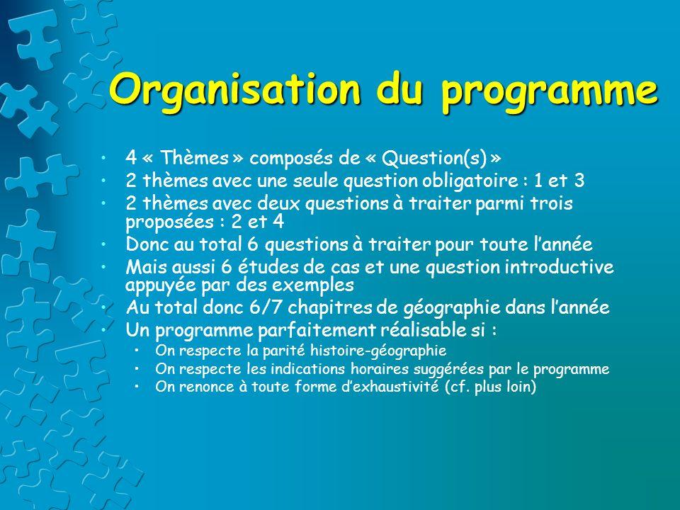 Organisation du programme 4 « Thèmes » composés de « Question(s) » 2 thèmes avec une seule question obligatoire : 1 et 3 2 thèmes avec deux questions