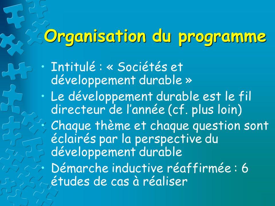 Organisation du programme Intitulé : « Sociétés et développement durable » Le développement durable est le fil directeur de lannée (cf. plus loin) Cha