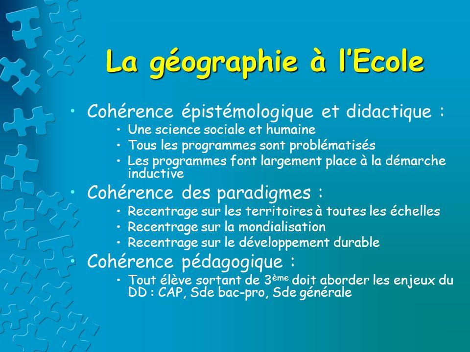 La géographie à lEcole Cohérence épistémologique et didactique : Une science sociale et humaine Tous les programmes sont problématisés Les programmes