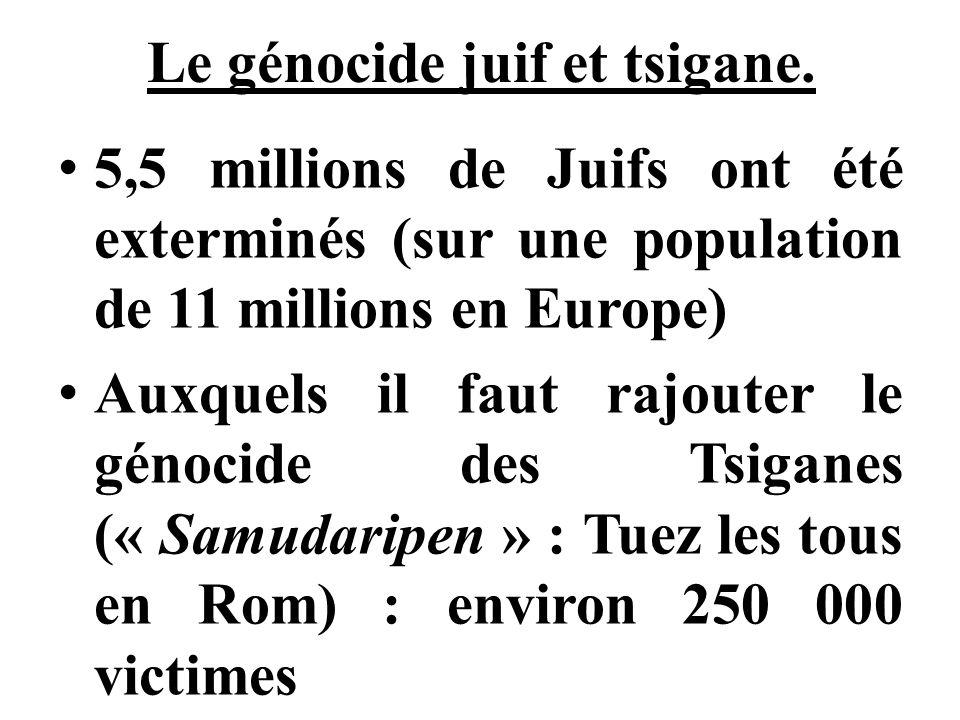 Le génocide juif et tsigane. 5,5 millions de Juifs ont été exterminés (sur une population de 11 millions en Europe) Auxquels il faut rajouter le génoc