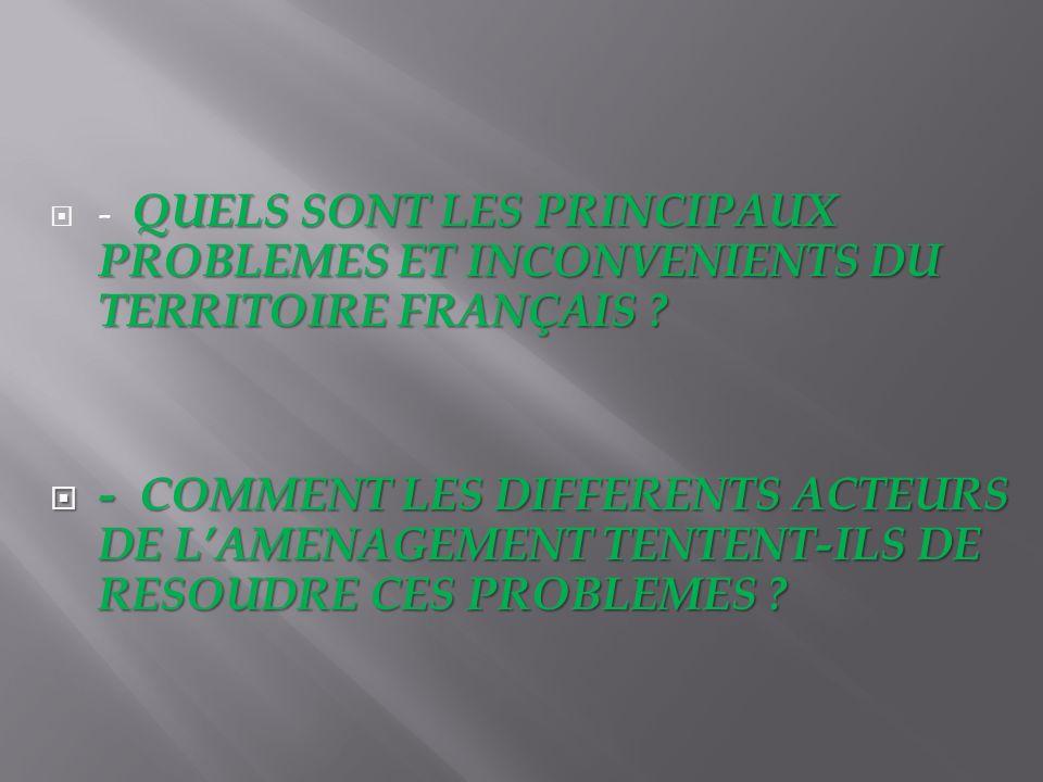 QUELS SONT LES PRINCIPAUX PROBLEMES ET INCONVENIENTS DU TERRITOIRE FRANÇAIS ? - QUELS SONT LES PRINCIPAUX PROBLEMES ET INCONVENIENTS DU TERRITOIRE FRA