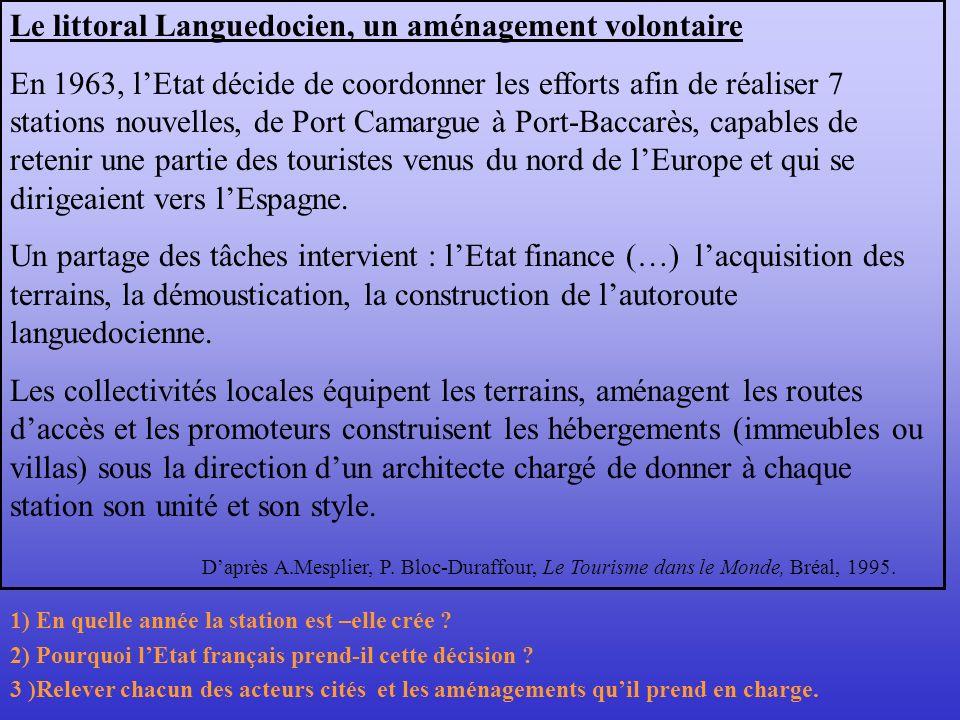 Le littoral Languedocien, un aménagement volontaire En 1963, lEtat décide de coordonner les efforts afin de réaliser 7 stations nouvelles, de Port Cam