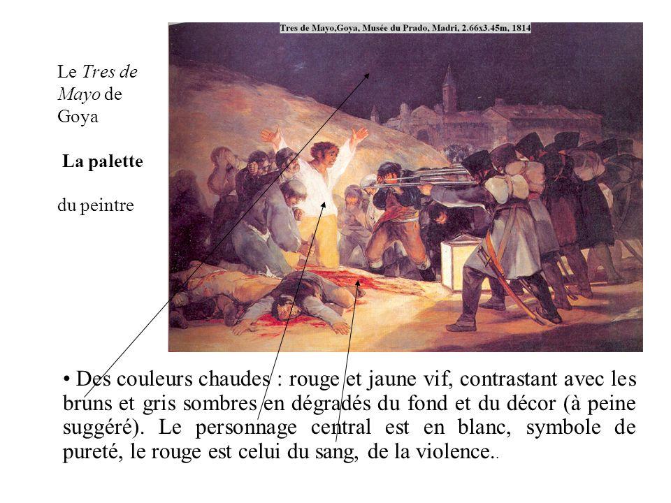 Le Tres de Mayo de Goya La palette du peintre Des couleurs chaudes : rouge et jaune vif, contrastant avec les bruns et gris sombres en dégradés du fon