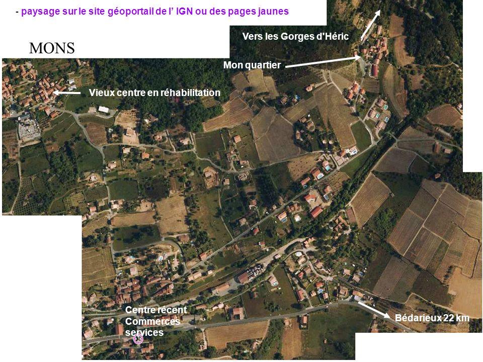 - paysage sur le site géoportail de l IGN ou des pages jaunes Mon quartier Vers les Gorges d'Héric Vieux centre en réhabilitation Centre récent Commer
