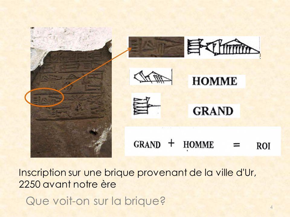 4 Inscription sur une brique provenant de la ville d'Ur, 2250 avant notre ère Que voit-on sur la brique?