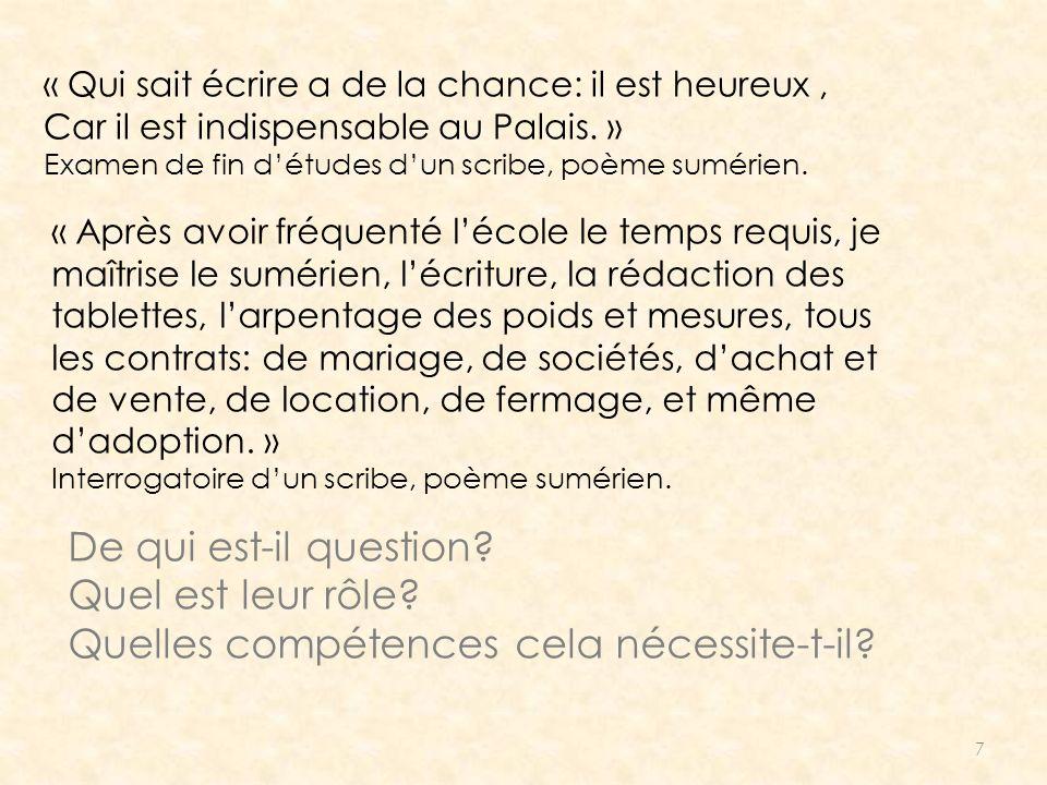 7 « Qui sait écrire a de la chance: il est heureux, Car il est indispensable au Palais. » Examen de fin détudes dun scribe, poème sumérien. « Après av