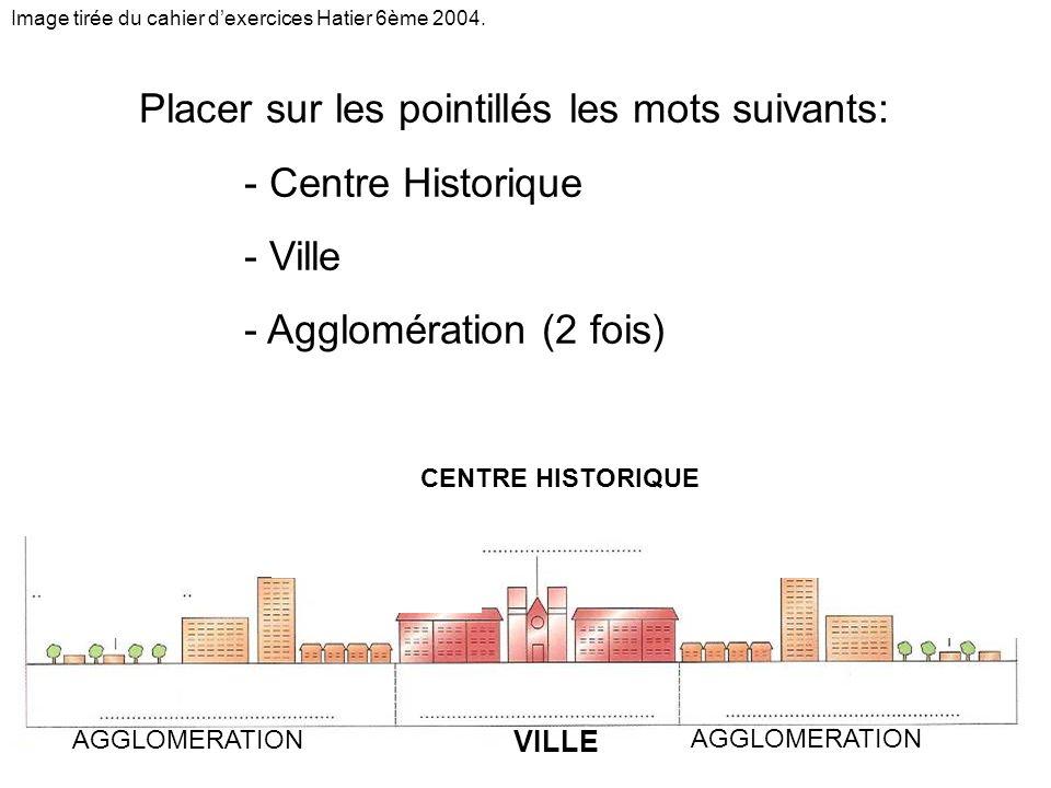 VILLE CENTRE HISTORIQUE AGGLOMERATION Placer sur les pointillés les mots suivants: - Centre Historique - Ville - Agglomération (2 fois) Image tirée du