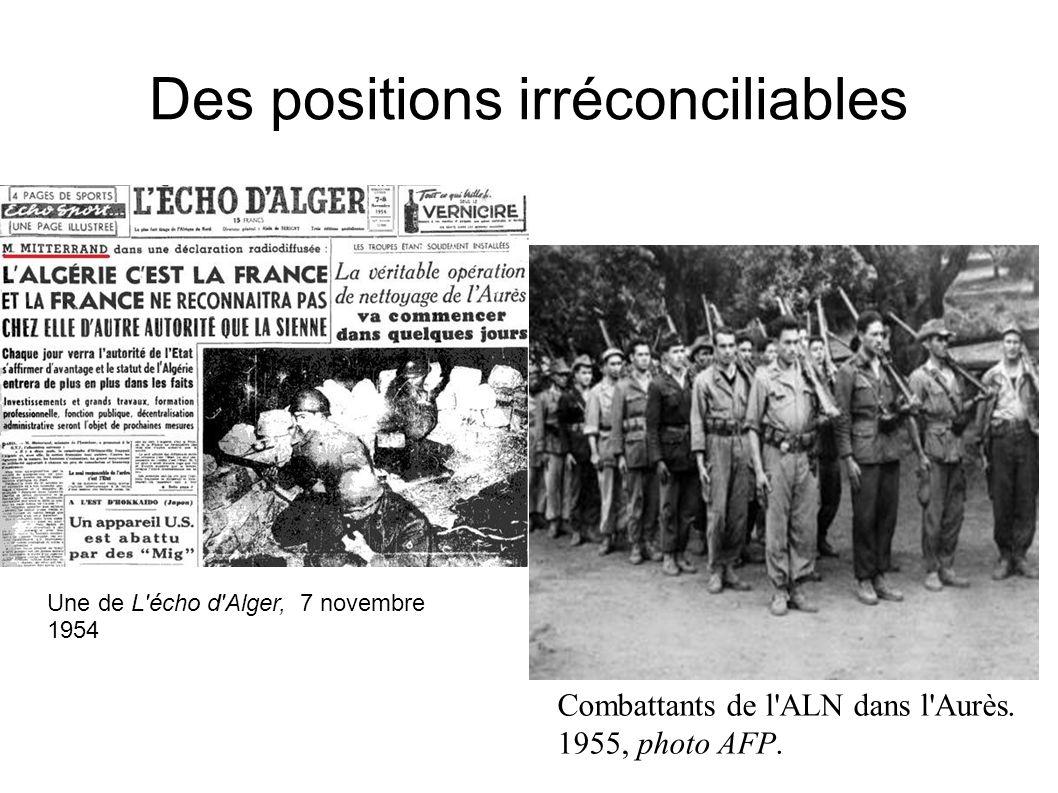 Des positions irréconciliables Une de l Echo d Alger 7 Novembre 1954.