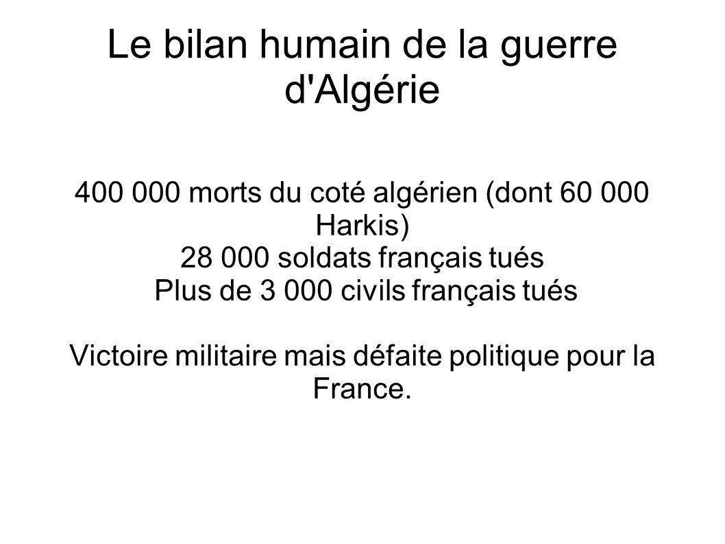 Le bilan humain de la guerre d Algérie 400 000 morts du coté algérien (dont 60 000 Harkis) 28 000 soldats français tués Plus de 3 000 civils français tués Victoire militaire mais défaite politique pour la France.