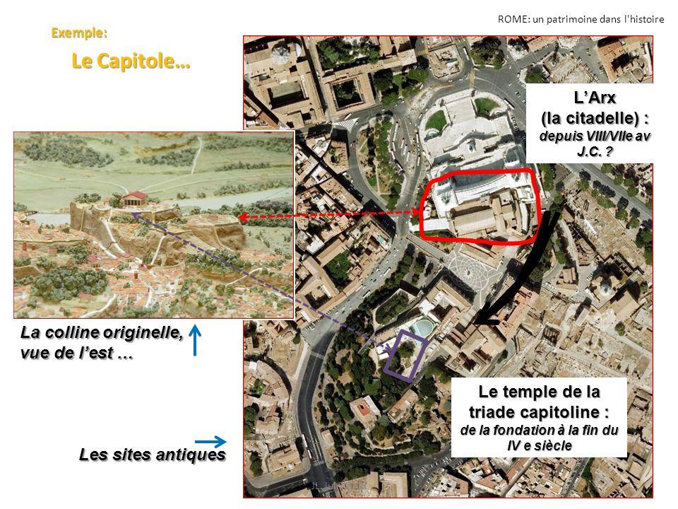 ROME: un patrimoine dans l'histoire Exemple: Le Capitole… Le Capitole… 13JL. juin 2012 La colline originelle, vue de lest … Les sites antiques LArx (l