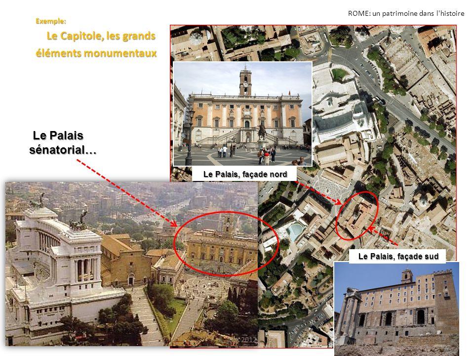 ROME: un patrimoine dans l'histoire Exemple: Le Capitole, les grands Le Capitole, les grands éléments monumentaux Le Palais sénatorial… Le Palais séna