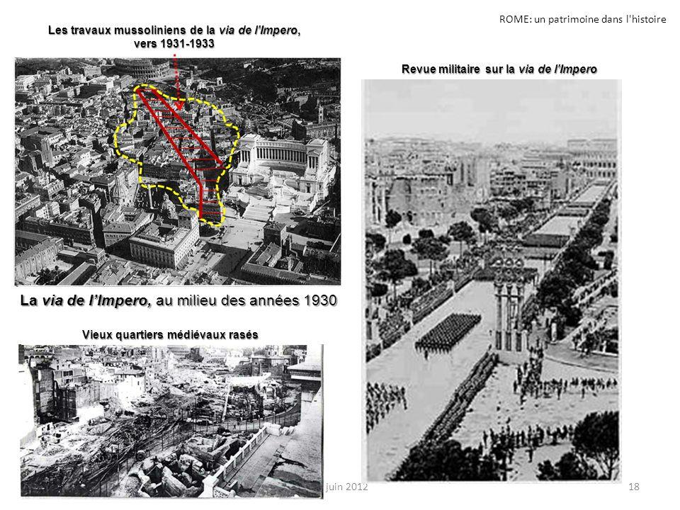 ROME: un patrimoine dans l'histoire 18JL. juin 2012 Les travaux mussoliniens de la via de lImpero, vers 1931-1933 La via de IImpero, au milieu des ann