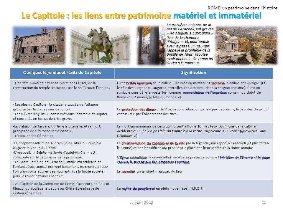 ROME: un patrimoine dans l'histoire Le Capitole : les liens entre patrimoine matériel et immatériel 20JL. juin 2012 Quelques légendes et récits Quelqu
