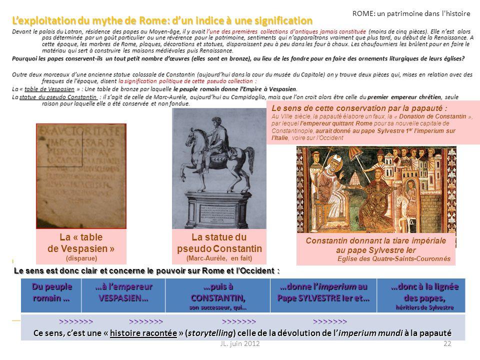ROME: un patrimoine dans l'histoire Lexploitation du mythe de Rome: dun indice à une signification Devant le palais du Latran, résidence des papes au