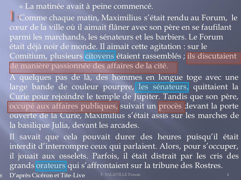 « La matinée avait à peine commencé. Comme chaque matin, Maximilius sétait rendu au Forum, le cœur de la ville où il aimait flâner avec son père en se